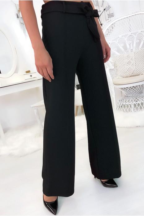 pantalon-palazzo-noir-avec-plis-et-ceinture-mode-femme-fashion